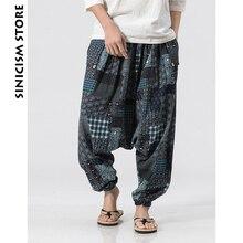 Sinicism Store, хлопковые льняные шаровары, Мужские штаны для бега, мужские летние штаны с геометрическим рисунком, Гавайские Пляжные штаны