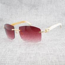 Retro Wood Oversize Sunglasses Men Natural Black White Buffalo Horn Rimless Eyewear Frame For Outdoor Summer Oculos Gafas 705