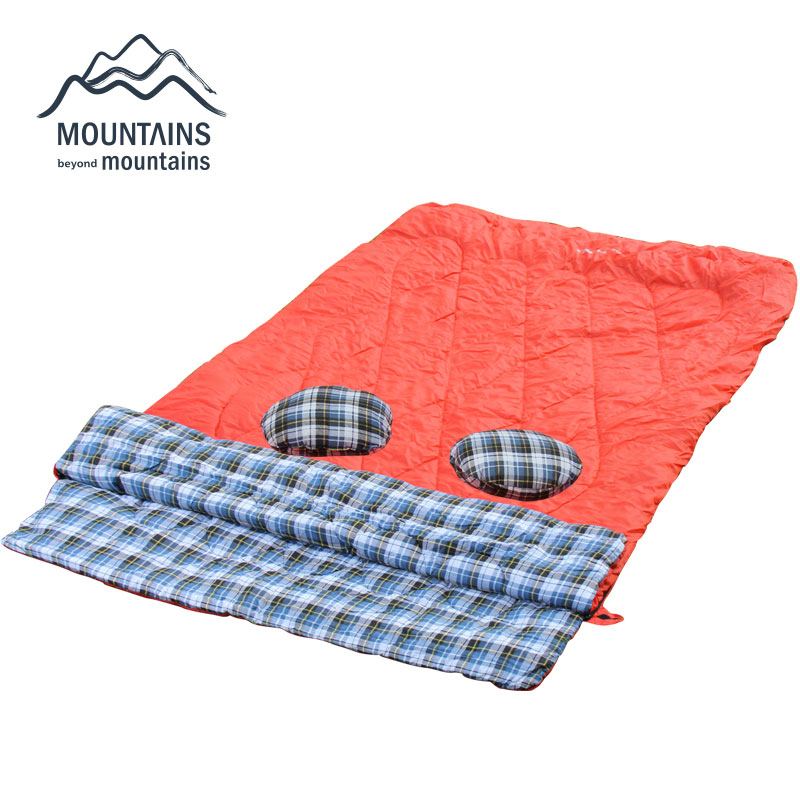 Camping Sleeping Bag Double Sleeping Bag with Pillows Travel Hiking Sleeping Bag For Four Seasons couple double sleeping bag with pillows lightweight outdoor camping tour portable adult lover warm sleeping bag for 3 seasons