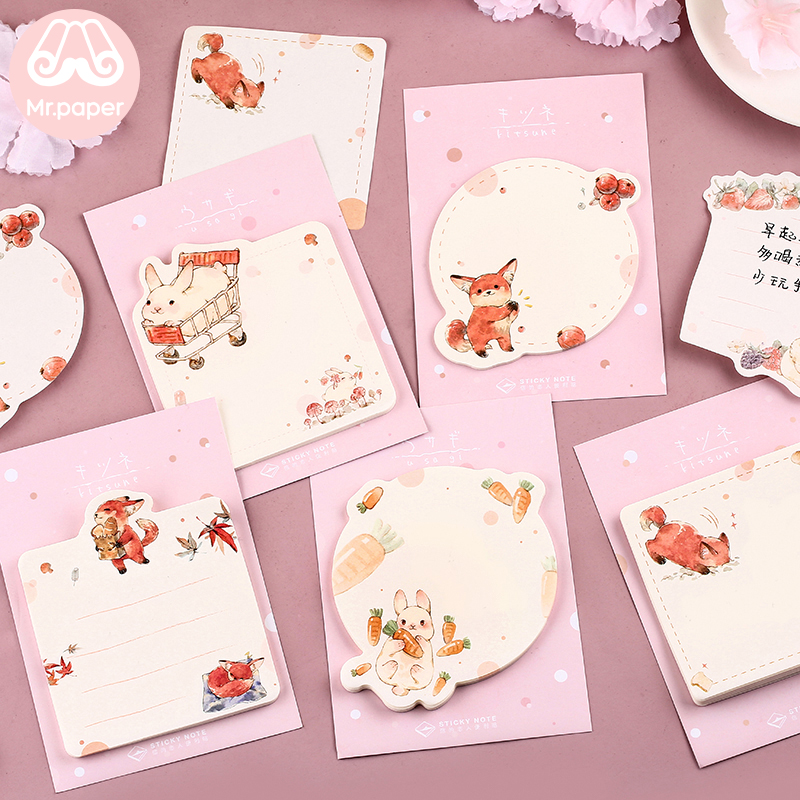 Mr Paper 30pcs/lot 6 Designs Kawaii Cartoon Animals Rabbit Fox Memo Pad Sticky Notes Notepad Diary Self-Stick Notes Memo Pads