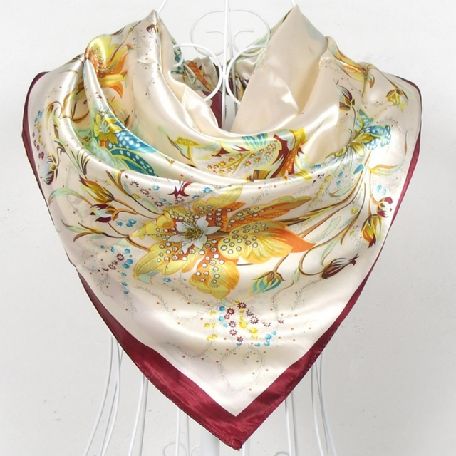 Spring And Autumn Female Square Silk Scarf Printed New Design Flowers Pattern Satin Polyester Square Scarves Yellow And Pink