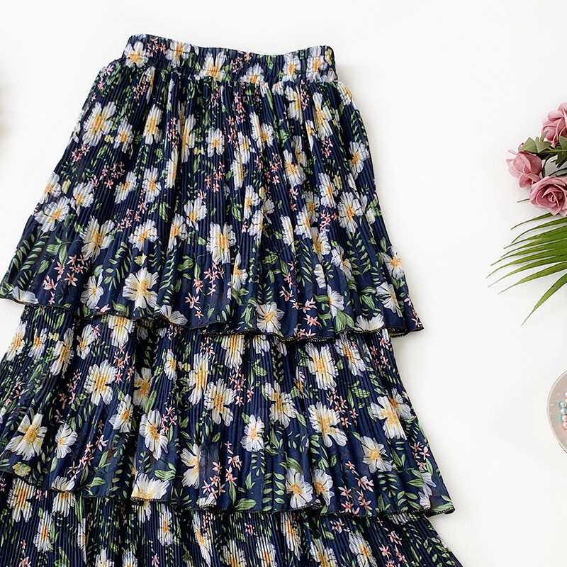 Wasteheart Spring Blue Green Sexy Women Skirts A-Line Ankle-Length Skirt Chiffon Mesh Clothing Long Skirt Floral Printed Sweet