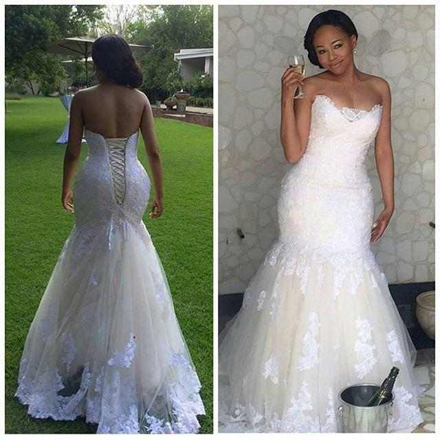 Don S Bridal Elegant Africa Lace Mermaid Wedding Dresses Plus Size Corset Back Sweetheart Gowns 2017
