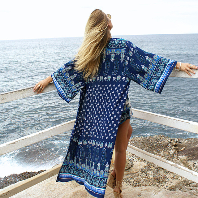Summer Women Sexy Swimsuit Cover Up Long Sleeve Plus Size Print