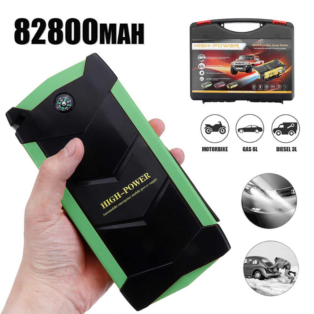 82800mAh Car Battery Jump Starter 12V 4 USB Portable Charger Booster LED Emergency Multifunction Power Bank Kit for Auto Car 4 usb car jump starter auto booster power bank 12v emergency battery charger multi function 3 led light with power adapter