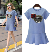 Yibaka 2017 New Loose large size short-sleeved printed Women dress fashion was thin summer dress Women's clothing