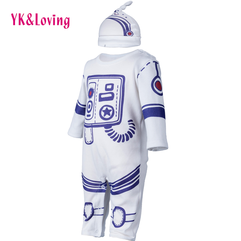 0-24M Baby Boy/Girls Cartoon Astronauts Clothing Hat + jumpsuit Cotton Long Sleeve Rompers Infant Newborn Space Suit  Clothes newborn baby girls rompers 100% cotton long sleeve angel wings leisure body suit clothing toddler jumpsuit infant boys clothes