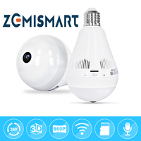 LED Wifi Bulb VR IP HD 2MP Home Security Night Vision FishEye CCTV Camera Domestic Helper