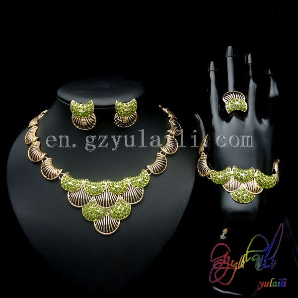 Free Shipping New Model Necklace Set Jewelry Round Statement Anniversary Copper Alloy Ladies Four Jewelry Set alloy fringe statement necklace