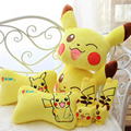 2pcs/lot pikachu plush car neck pillow cute cartoon headrest car seat pillow belt cover one pair best gift for friends