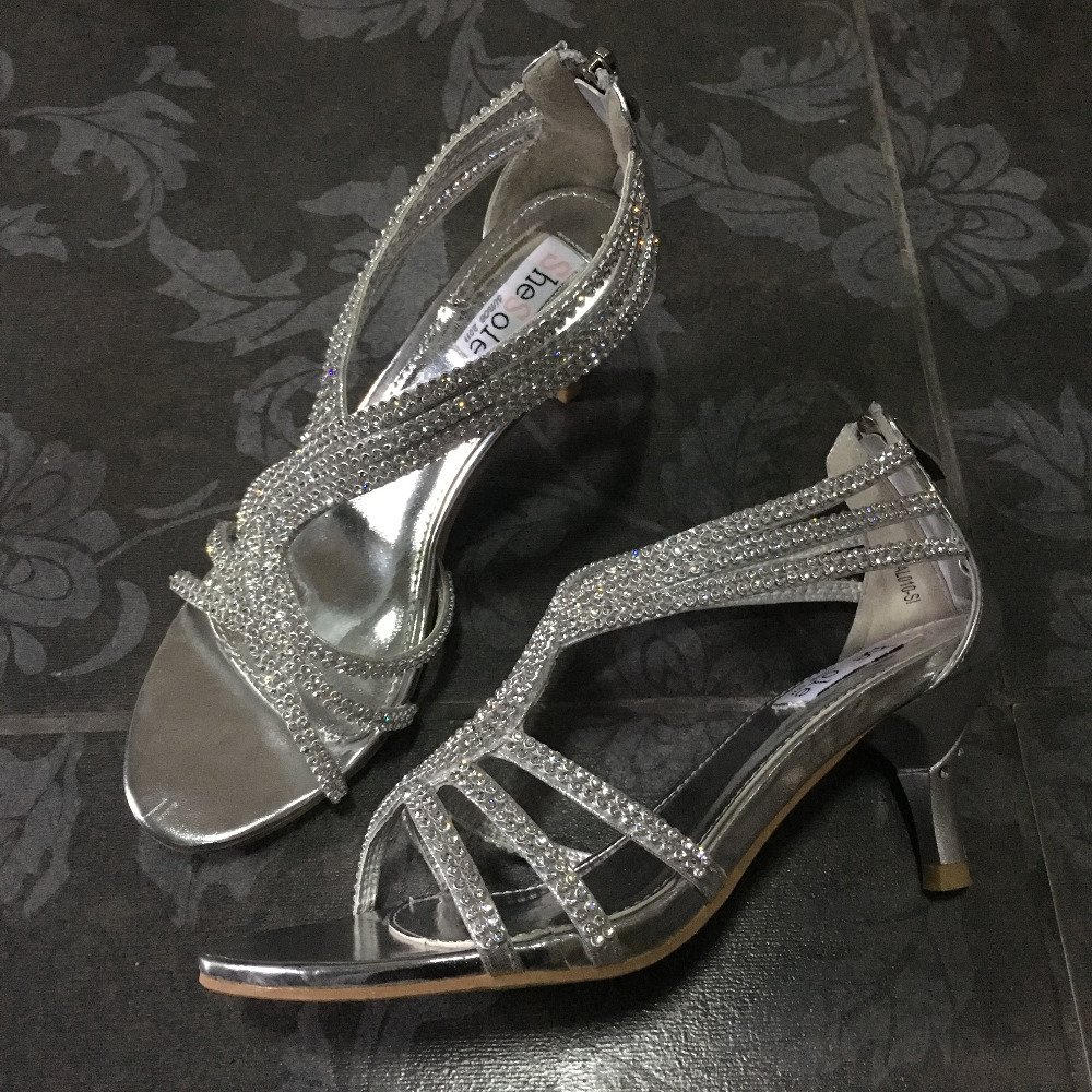 SheSole brand ladies strappy rhinestone kitten heel wedding sandal shoes  women silver gold zip party dress bridal bridesmaid new-in Women s Sandals  from ... ce0a0f994b57