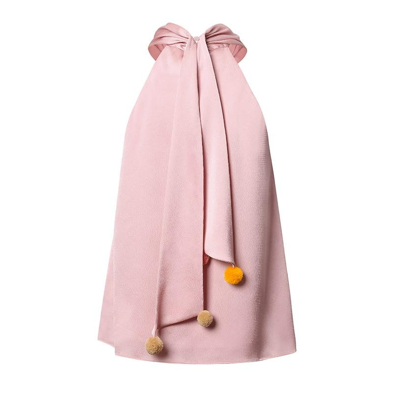 Réservoir Lâche Original Ruban De D'été Boule Fil Mode Sth302 Avec 2017 Halter Cou Sans Manches Rose Haut Design Femmes Croisillon SvqwxwIZ
