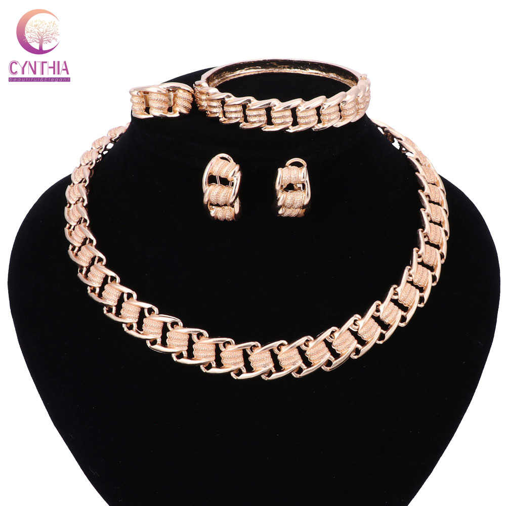 אופנה סט תכשיטים אפריקאי ניגרי חתונה זהב צבע חרוזים תכשיטי סט כלה שרשרת עגילי צמיד טבעת מסיבת סטים
