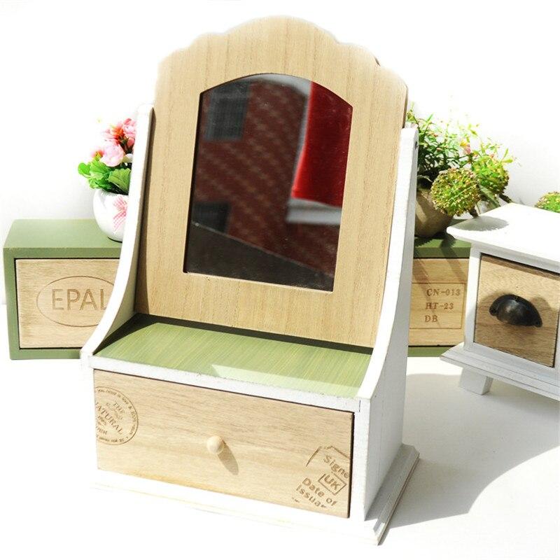 ZAKAKA Sytle fait à la main en bois tiroir de rangement boîte bijoux maquillage organisateur cosmétique articles divers bureau étagères de stockage étagères