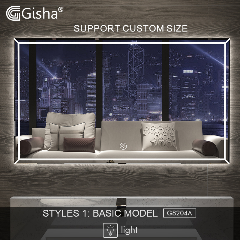 Gisha Smart Mirror LED Bathroom Mirror Wall Bathroom Mirror Bathroom Toilet Anti-fog Mirror With Touch Screen Bluetooth G8204