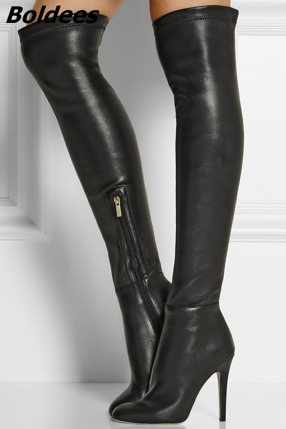 Fashion Black PU Leather Stiletto Heel Knee High Boots Women Designer Sexy Black Side Half Zip Long Boots Hot Sell Shoes black zip design plain high waisted pu pants
