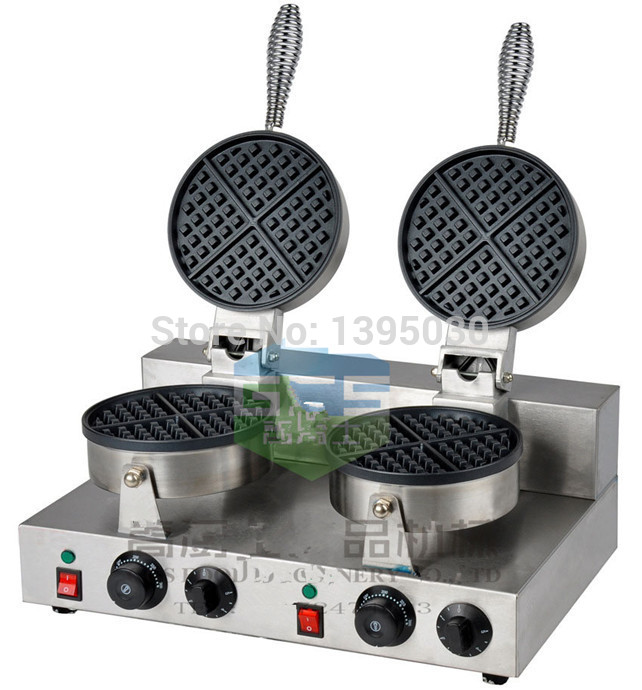 Electric Double Head Waffle Maker Mould Plaid Cake Furnace Heating Machine Square Waffle Oven FY-2 1PC electric square shape waffle maker commercial waffle baker plaid cake furnace machine heating machine fy 115
