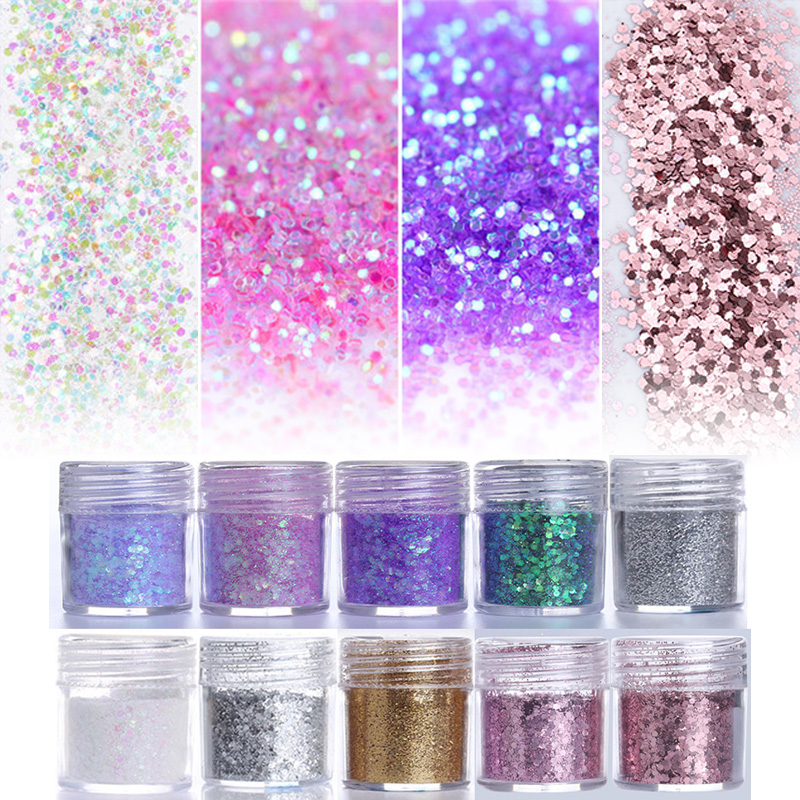 Pink Purple Mixed Nail Glitter 10ml Hexagon Shape Nail Art Powder Glitters for Art Glitter Powder Dust Sheets Tips 1 Box 1 box nail glitter champagne silver diy decoration powder sequins super matte powder design nail art glitter paillette 8234059
