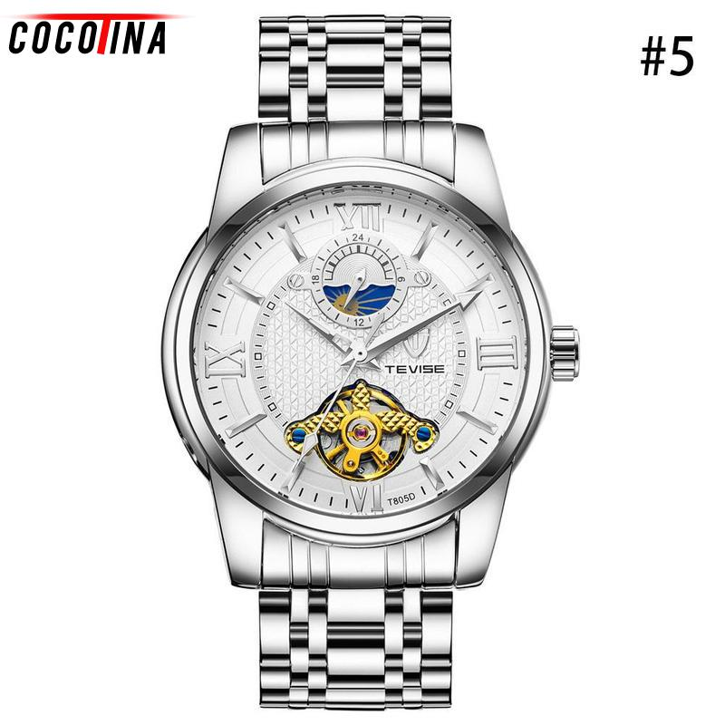 Cocotina Watch Men Luxury Men's Sapphire Crystal Moonphase Waterproof Luminous Watches Auto Mechanical Wristwatch Gift Box deluxe ailuo men auto self wind mechanical analog pointer 5atm waterproof rhinestone business watch sapphire crystal wristwatch