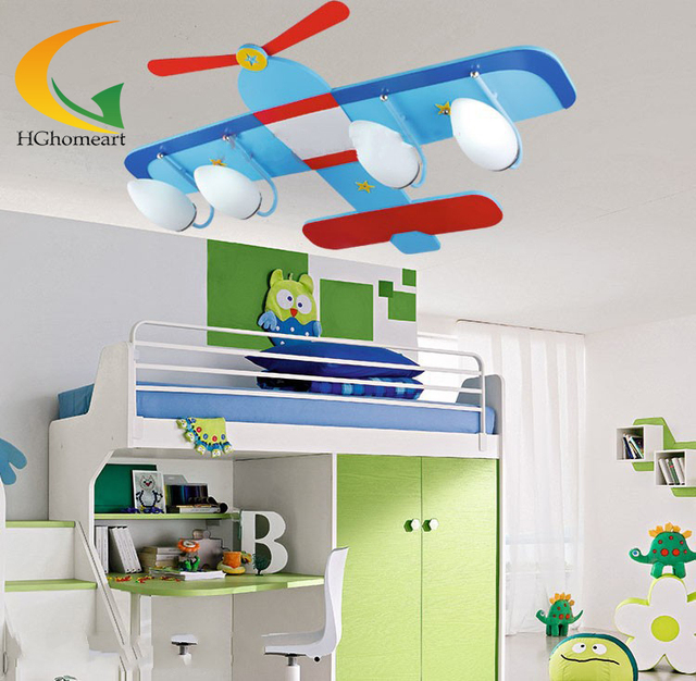 Children S Ceiling Lights Bedroom Kids Room Lamp Of Gl Wood Creative Rural Cartoon Lighting Blue