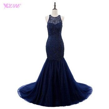 57be956a124 YQLNNE 2018 vestidos De graduación largos De lujo sirena Vestido De noche  azul marino Halter perlas