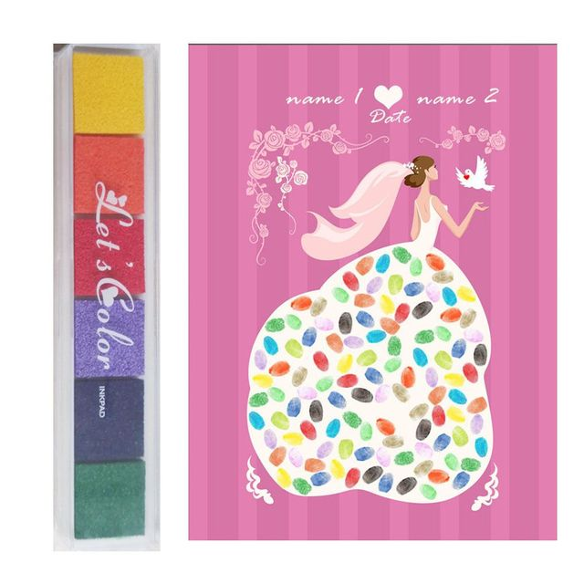 Beautiful Wedding Tree With One Inkpad Fingerprint Signature Guest Book Diy Party Canvas Painting 30x40cm