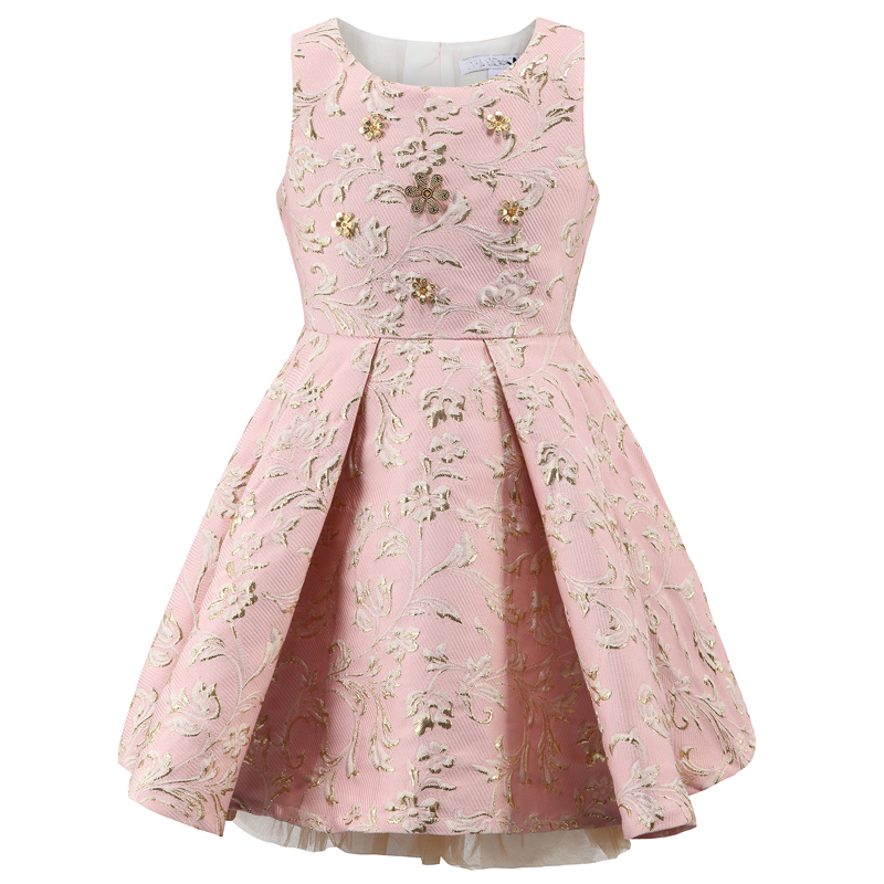BRWCF 2017 Princess Girl Dress Autumn & Winter for embroidery Kids Clothes Flower Sequined Children Dress for Wedding Party