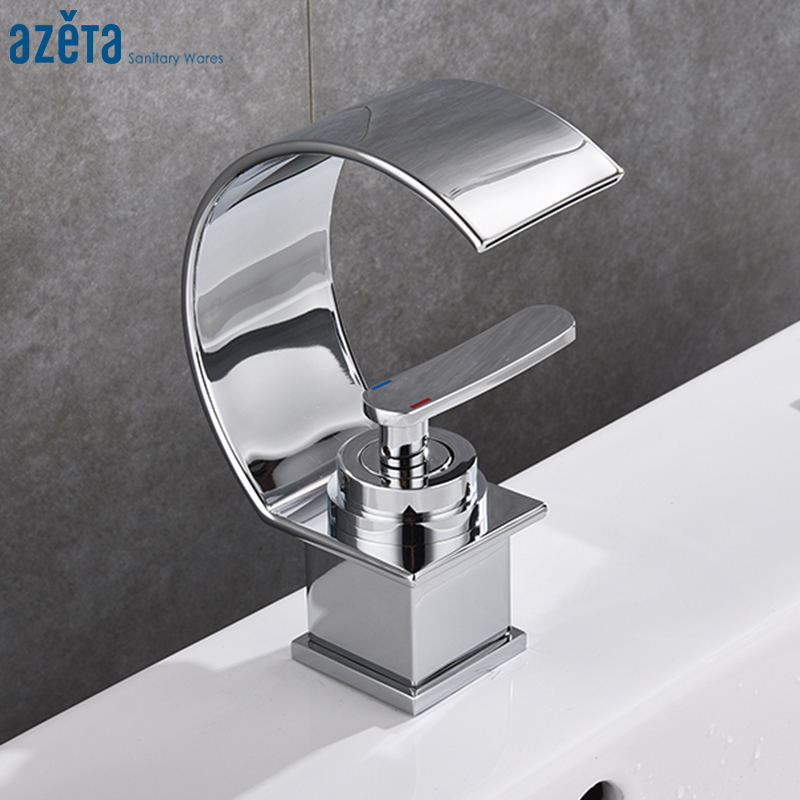 Home Improvement Purposeful Azeta Free Shipping Bathroom Basin Faucet Single Hole Deck Mounted Chrome Half-moon Shape Waterfall Basin Taps Torneira At8006