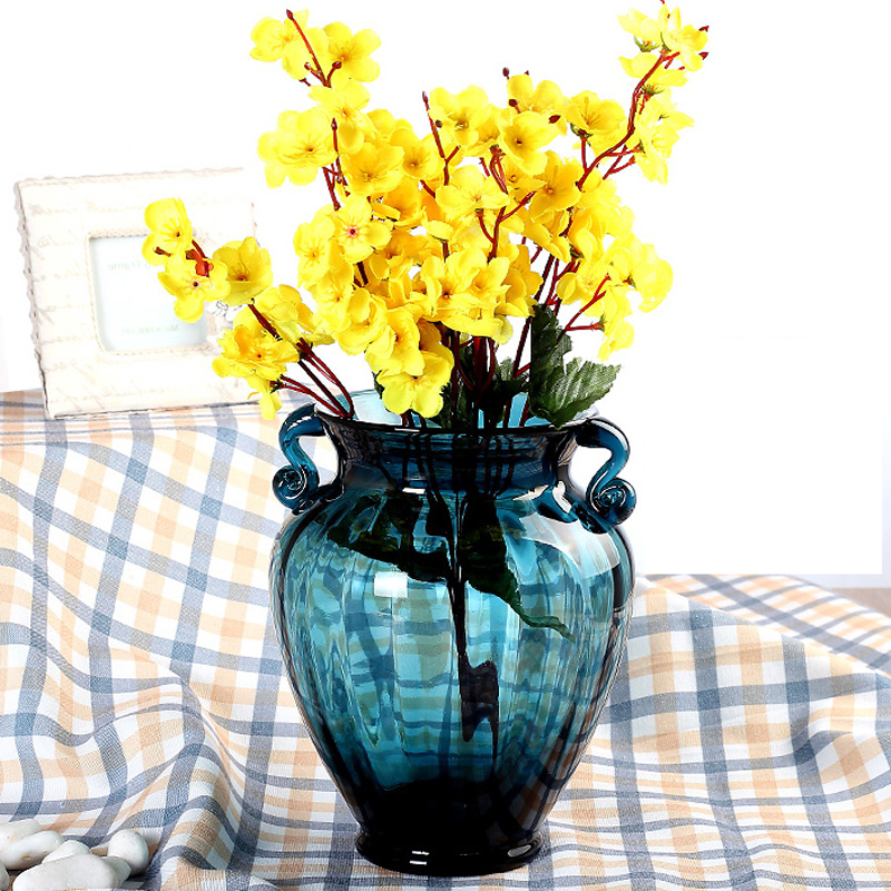 Europe glass vase Binaural blue vases tabletop living room Hydroponics Flower arrangement container home decorative vases in Vases from Home Garden