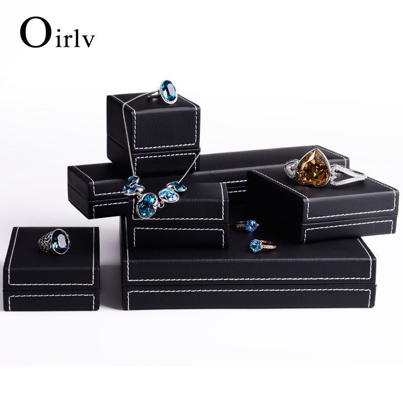 Black PU Leather Jewelry Git Boxes Ring Bracelet Pendant Necklace Packaging Wedding Party Display Organizers