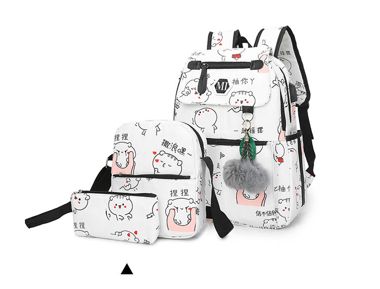 2019 USB Charging Canvas Backpack 3 Pcs/set Women School Backpacks Schoolbag For Teenagers Man Student Book Bag Boys Satchel