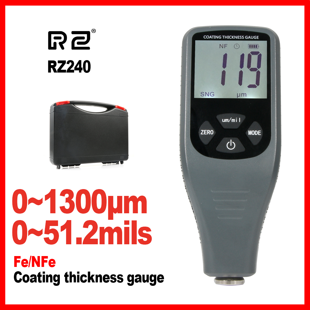 Coating Thickness Gauge Digital Paint Thickness Gauge Meter Tools Ferrous and non-Ferrous 2 in 1 RZ240 non ferrous alloys