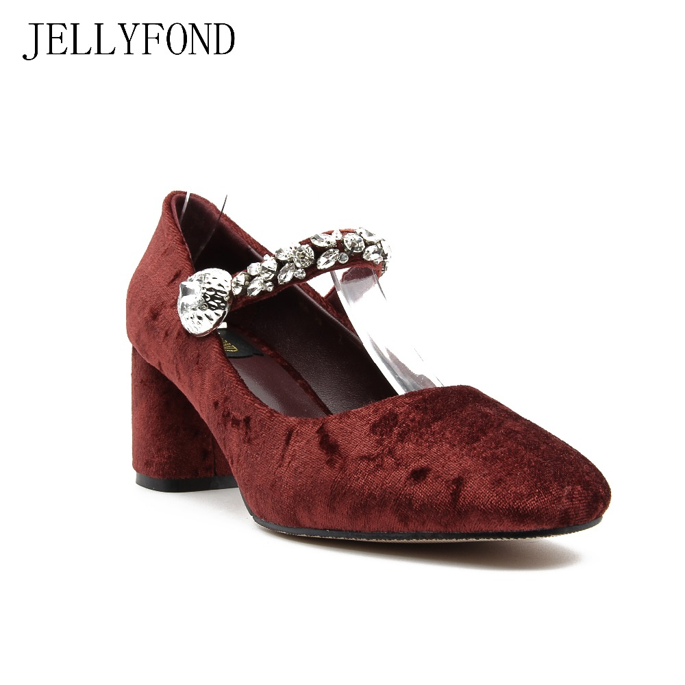 JELLYFOND 2017 Fashion Rhinestones Velvet High Heels Vintage Mary Janes Brand Shoes Woman Round Toe Crystals Party Dress Pumps new fashion thick heels woman shoes pointed toe shallow mouth ankle strap thick heels pumps velvet mary janes shoes
