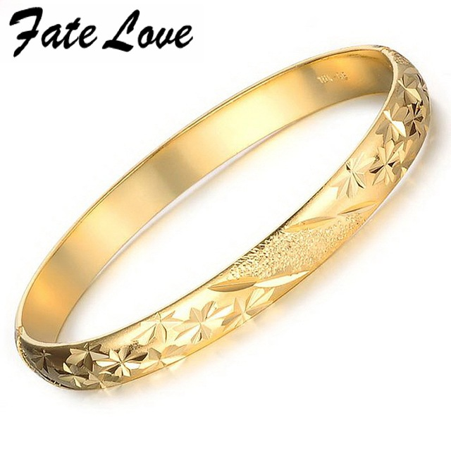 Fate Love New Fashion Elegant Bridal Bracelets Gold Color Flower Pattern Cuff Bangel 7mm Bracelet Woman Accessory Jewelry FL764