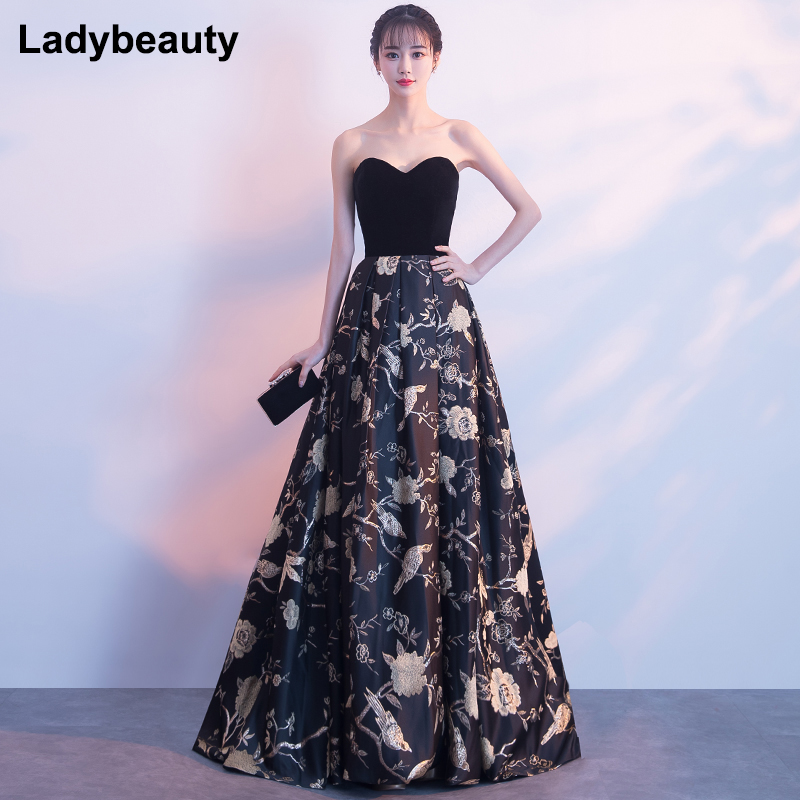 Ladybeauty 2019 Sweetheart Long Evening Dress The Bride Sexy Sleeveless Lace up Back Vintage Party Formal