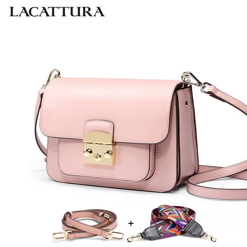 LACATTURA Women Messenger Bags Designer Luxury Handbag Women Leather Shoulder Bag Crossbody for Lady Small Clutch Fashion Purse alligator crocodile leather mini women crossbody bags small women bag sling lady messenger shoulder bag purse lady handbag