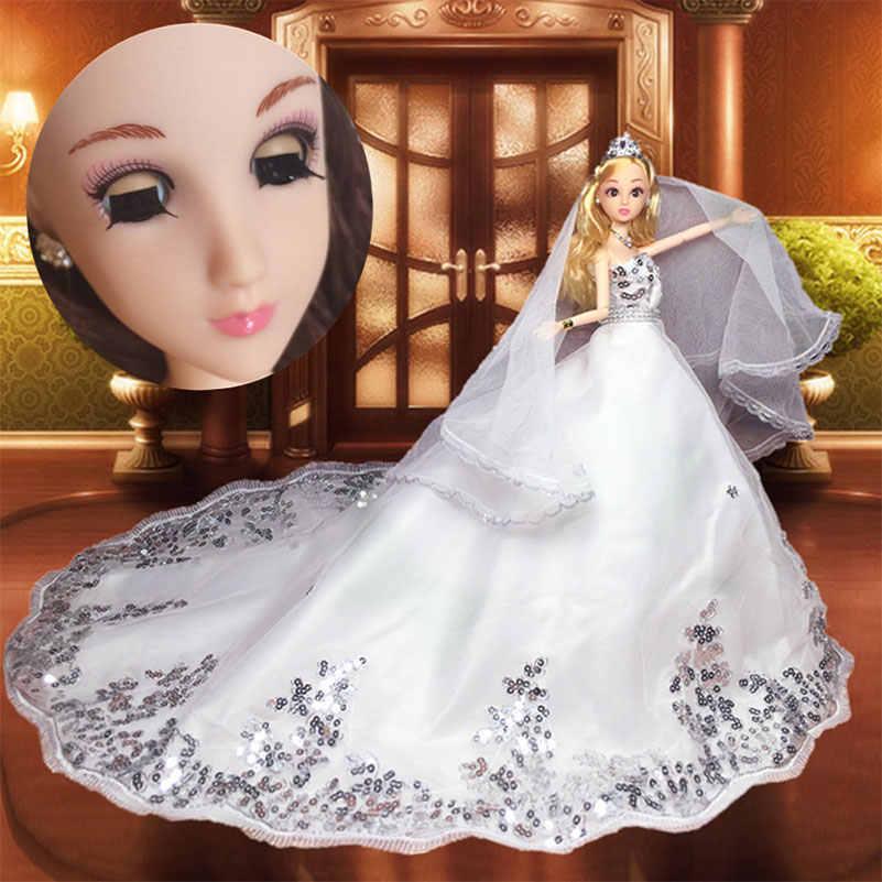 12 articulações Boneca Brinquedos Figura De Ação de Casamento Blink 3D Olhos Bonecas Com Roupas Do Corpo Jóias Da Princesa Boneca de Brinquedo Presentes Para meninas