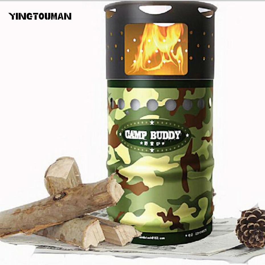 YINGTOUMAN Outdoor Portable Windproof Energy-efficient Wood Stove Carbon Steel Burner Camping Stoves for Hiking Picnic