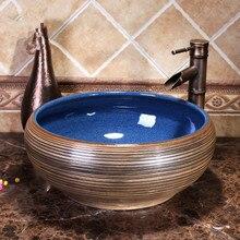 Estilo antiguo, Europeo fregaderos de cerámica encimera lavabo cuarto de baño lavabo vanidad