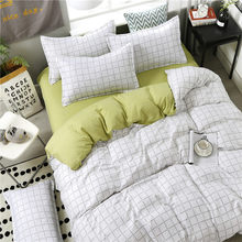 4pcs/set High Quality Comfortable White Strip Green Brief Family Bedding Set Bed Linings Duvet Cover Bed Sheet Pillowcases(China)