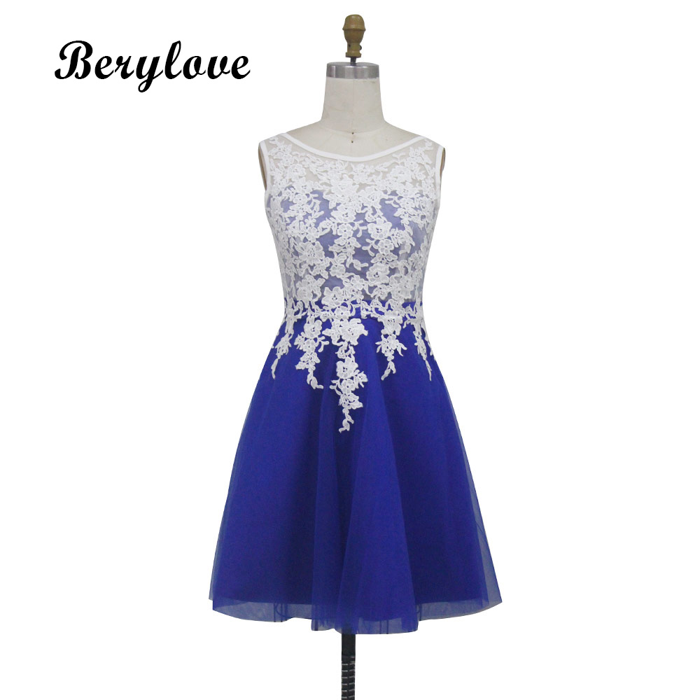 BeryLove Classic Short Royal Lace Prom Dresses 2018 Mini Prom Dress Plus Size Mini Prom Gowns Graduation Dress Party Dresses