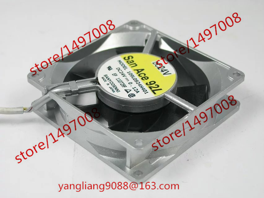 Free Shipping For SANYO 109L0924H401 DC 24V 0.12A 3-wire 3-pin connector 90mm 90x90x25mm Server Square Cooling Fan