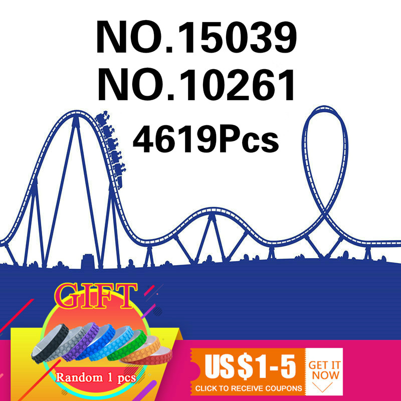 15039 4619Pcs The roller coaster Set Compatible with 10261 City Series Buidling Blocks Bricks Kids Toys Collectable Gifts in stock15039 roller funny model coaster set legoing10261 4619pcs building series buidling blocks bricks kids toys city
