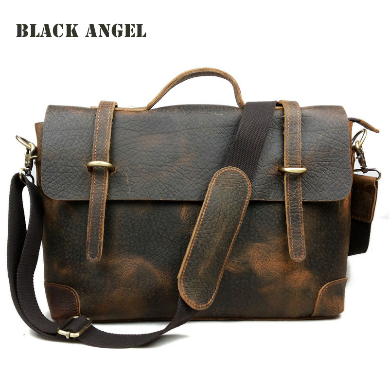 Classic vintage crazy horse leather men bag genuine leather men messenger bag shoulder bag briefcase crossbody bag High quality 247 classic leather