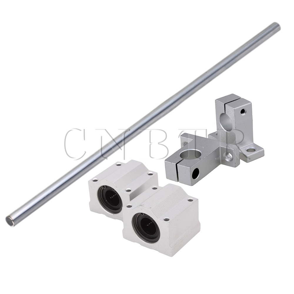 CNBTR OD12 x 500mm Shaft Optical Axis& Ball Slide Rail Support with Bearing 10x cnbtr vertical linear ball bearing rail support 20cm optical axis 8mm od