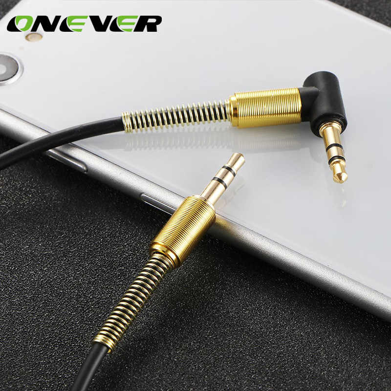 Onever 3.5mm Jack Car Auxiliary Audio Cable Extended Audio for Car Stereo PC with 90 Degree Angle Cable Gold Plated Connectors