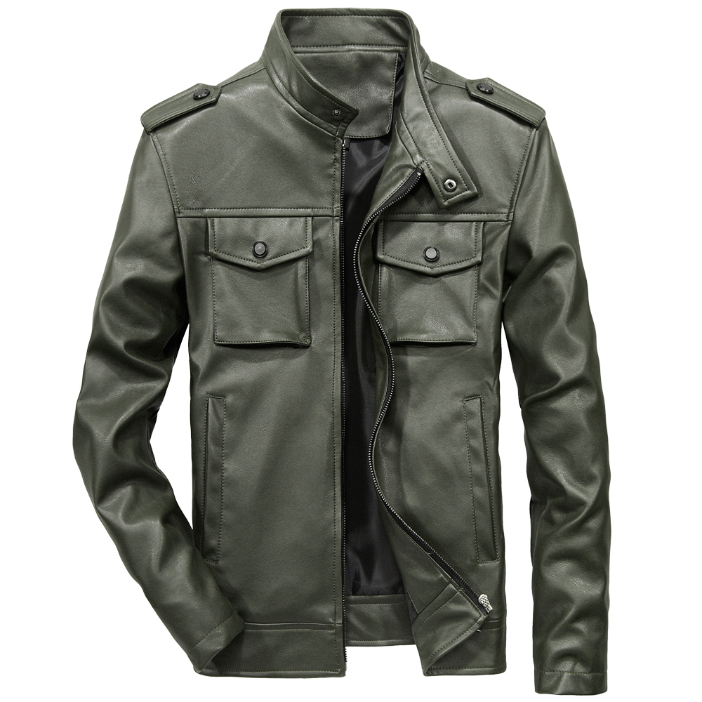 2018 New 6XL Mens Leather Jacket Brand Multi pocket Slim ...