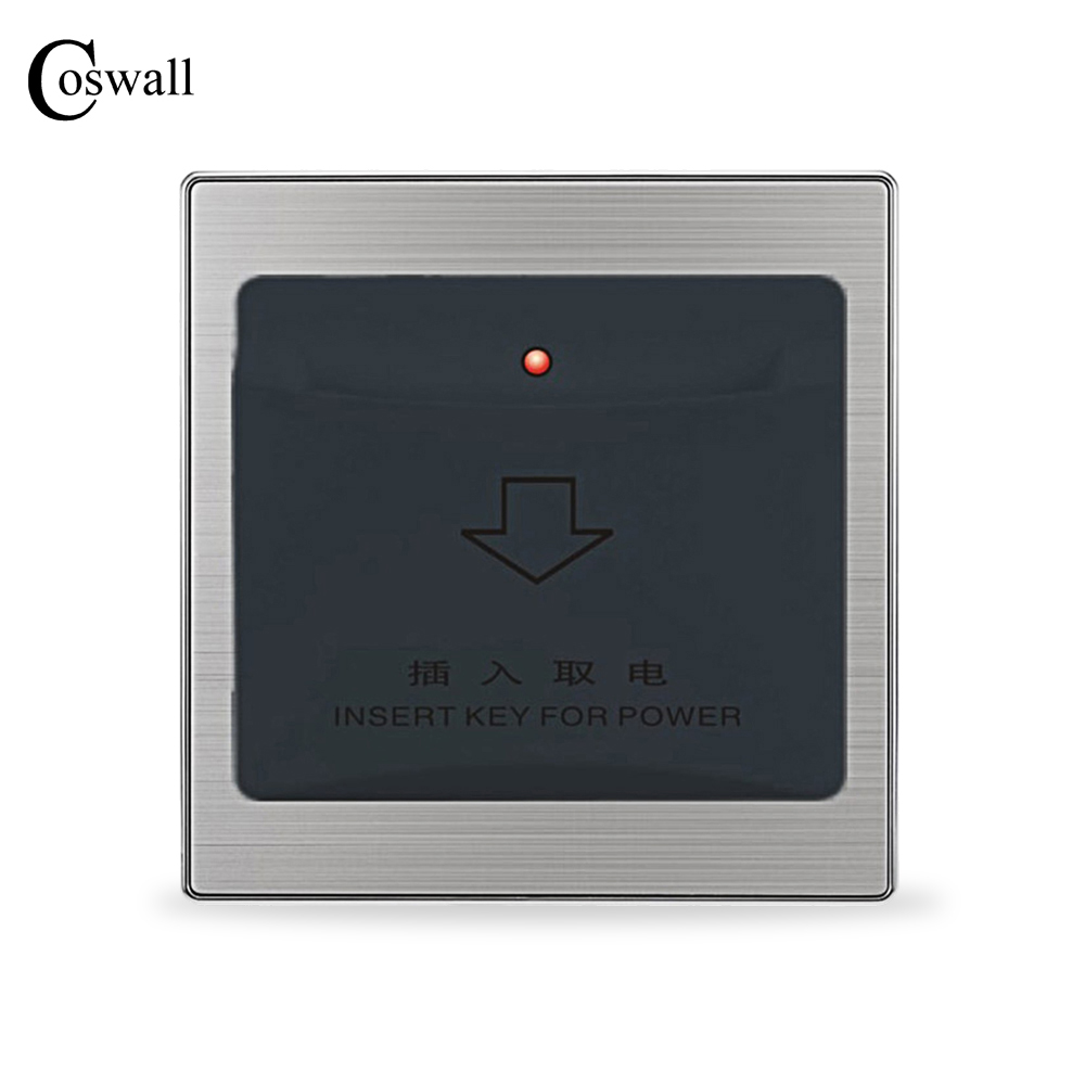 insert card for power hotel switch wall interruptor brushed silver stainless steel panel power light conmutador Insert Card for Power Hotel Switch Wall Interruptor Brushed Silver Stainless Steel Panel Power Light Conmutador