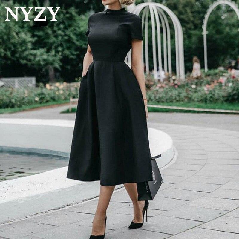 Elégant manches courtes noir Robe de soirée courte 2019 NYZY C170 Satin poche Robe de soirée Robe de soirée Robe de soirée Abendkleider