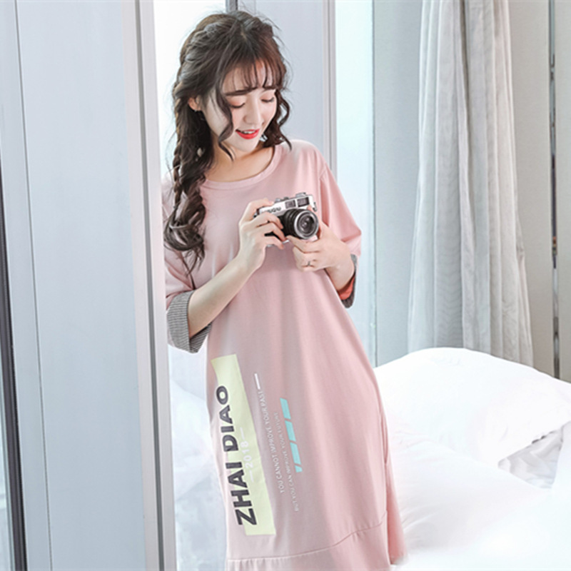 Hot Sale Women nightgowns sleepshirts women sleepwear Cotton Summer ...
